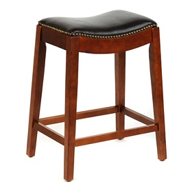 Brown Faux Leather Saddle Bar Stool