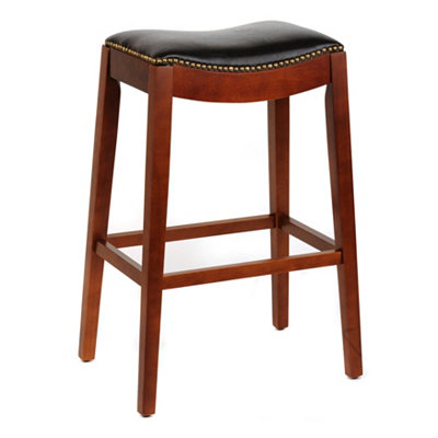 Brown Faux Leather Saddle Bar Stool, 30 in.