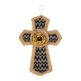 Black & Gray Burlap Chevron Cross