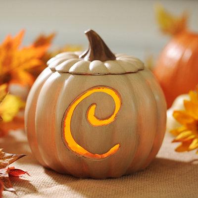 Pre-Lit Cream Monogram C Pumpkin