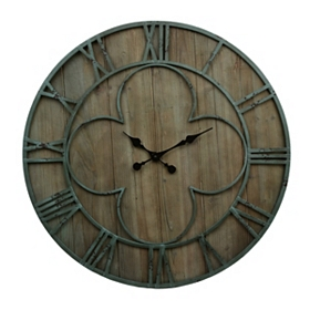 Distressed Teal Clover Clock