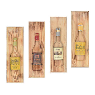 Vintage Wine Bottle Plaques, Set of 4