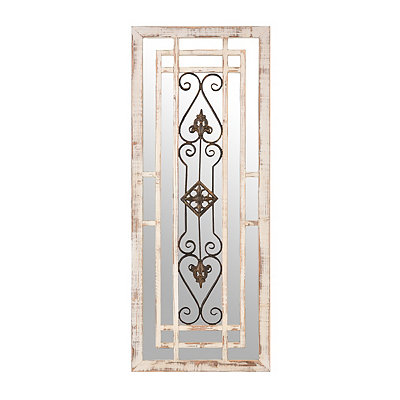 Distressed Ivory Mirrored Plaque