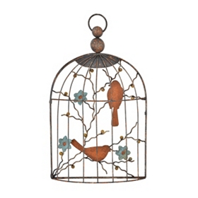 Distressed Birdcage Metal Plaque