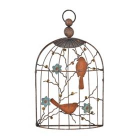 Distressed Birdcage Metal Plaque