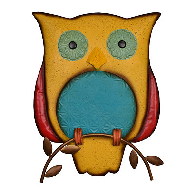 Perched Yellow Metal Owl