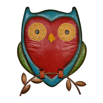 Perched Red Metal Owl