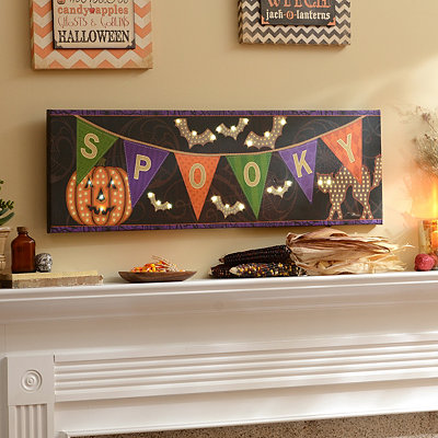Spooky Banner LED Canvas Art Print