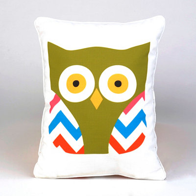 Chevron Wings Owl Pillow