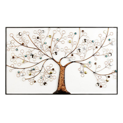 Framed Metallic Tree Metal Plaque