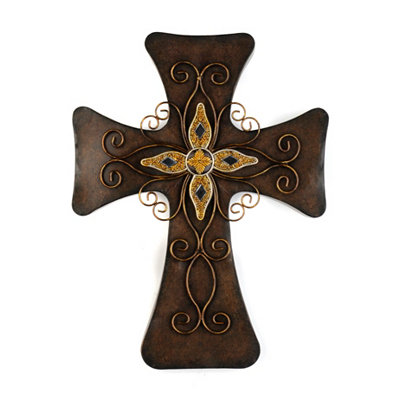 Yellow Beaded Scrollwork Cross