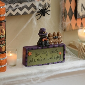 Witchy Black Cat Tabletop Sign
