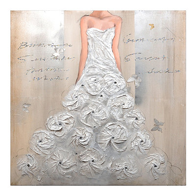 White Floral Dress Canvas Art Print