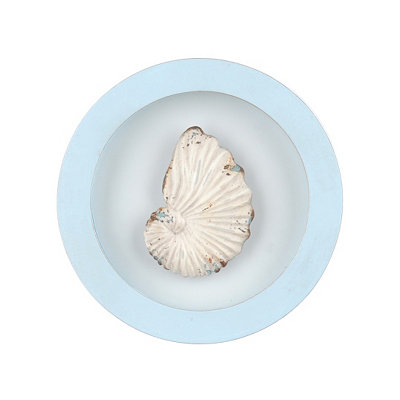 Conch Shell Round Framed Plaque