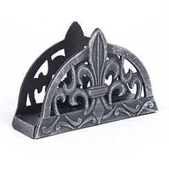 Antique Pewter Fleur-de-lis Napkin Holder