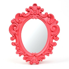 Small Scrolled Pink Vanity Mirror