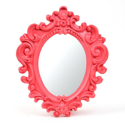 Small Scrolled Red Vanity Mirror