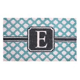 Turquoise Monogram E Doormat