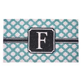 Turquoise Monogram F Doormat