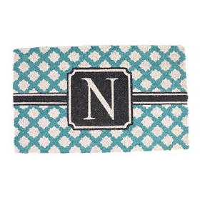 Turquoise Monogram N Doormat