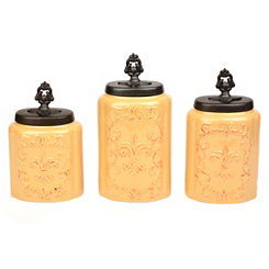 Antique Cream Fleur-de-lis Canisters, Set of 3