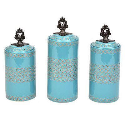 Blue Quatrefoil Canisters, Set of 3