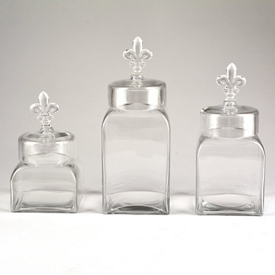 Glass Fleur-de-lis Canisters, Set of 3