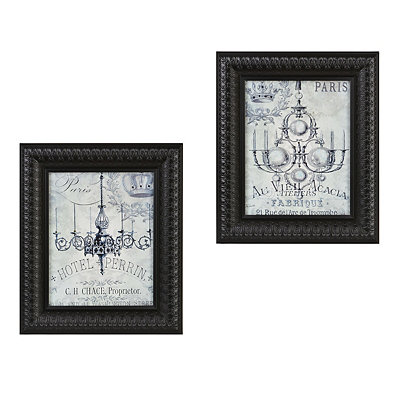 Vintage Chandeliers Framed Art Print, Set of 2