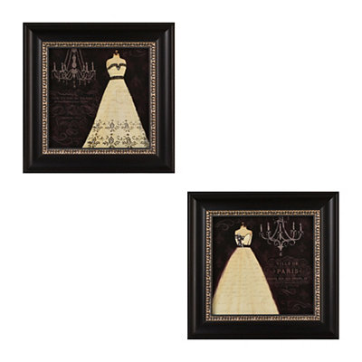 Parisian Gowns Framed Art Print, Set of 2