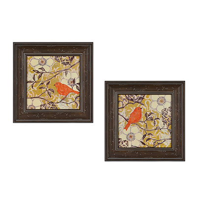 Bird in a Bush Framed Art Print, Set of 2