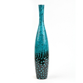 Turquoise Mother of Pearl Floor Vase