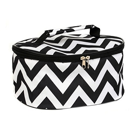 Round Insulated Black and White Casserole Carrier