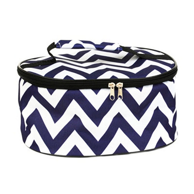 Round Insulated Blue and White Casserole Carrier