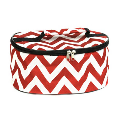 Round Insulated Red and White Casserole Carrier