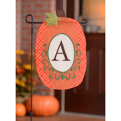 Monogram A Pumpkin Flag
