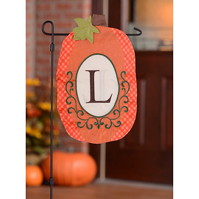 Monogram L Pumpkin Flag