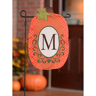 Monogram M Pumpkin Flag