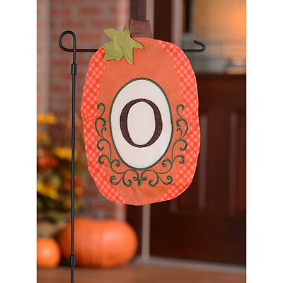 Monogram O Pumpkin Flag
