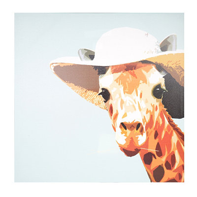 Giraffe in a Sun Hat Canvas Art Print