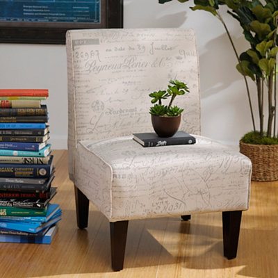 Ivory Script Slipper Chair