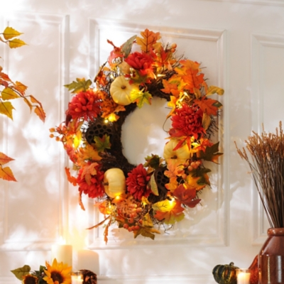 Pre-Lit Honeycomb Harvest Wreath