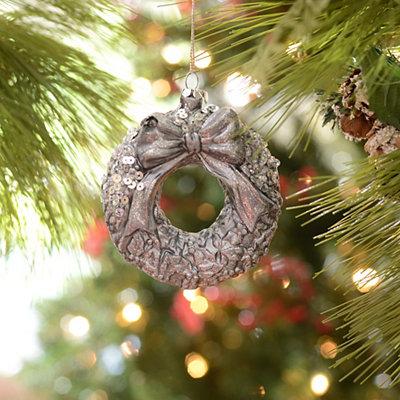 Silver Sequin Wreath Ornament