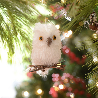 Crystal Fiber Owl Ornament