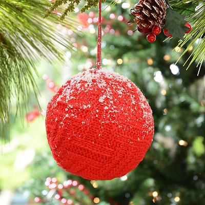 Snowy Red Knit Ornament