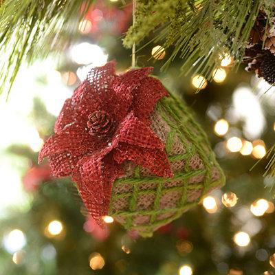 Burlap Poinsettia Gift Box Ornament