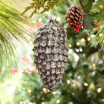 Metallic Silver Pine Cone Ornament