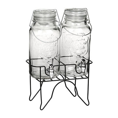 Hinged-Lid Double Beverage Dispensers