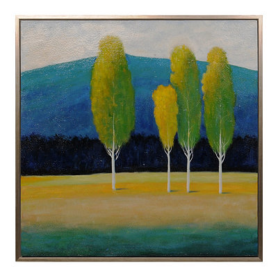 Four Trees Framed Canvas Art Print