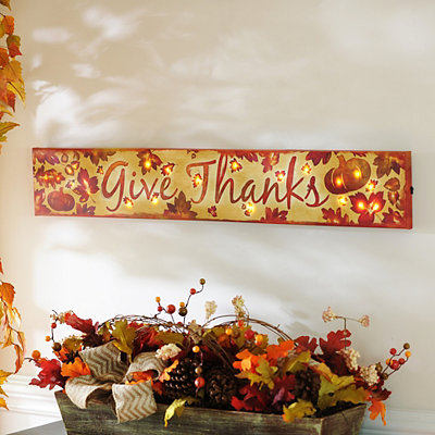 Give Thanks LED Canvas Art Print