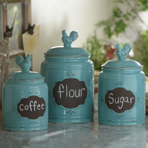 Aqua Rooster Canisters, Set Of 3